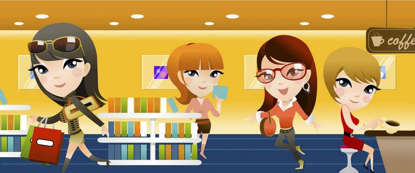 四个人,伙伴,朋友,商店,站,坐,横图,插画,室内,白天,正面,购物,友谊