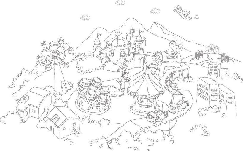 无人,游乐园,高楼大厦,横图,黑白,插画,室内,白天,白色背景,正面,度假