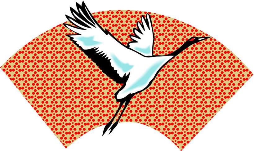 翱翔,合成,图画,注视,飞,画,一只,红色,动物,观察,看,扇形,观看,吉祥