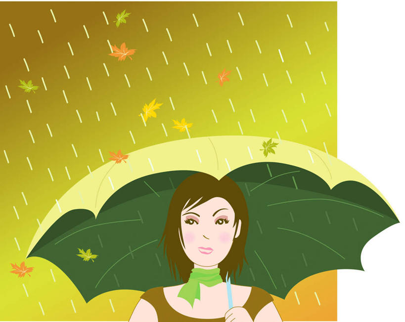遮阳伞,枫叶,枯叶,落叶,高光,几何,计算机图形,合成,图画,注视,阳伞