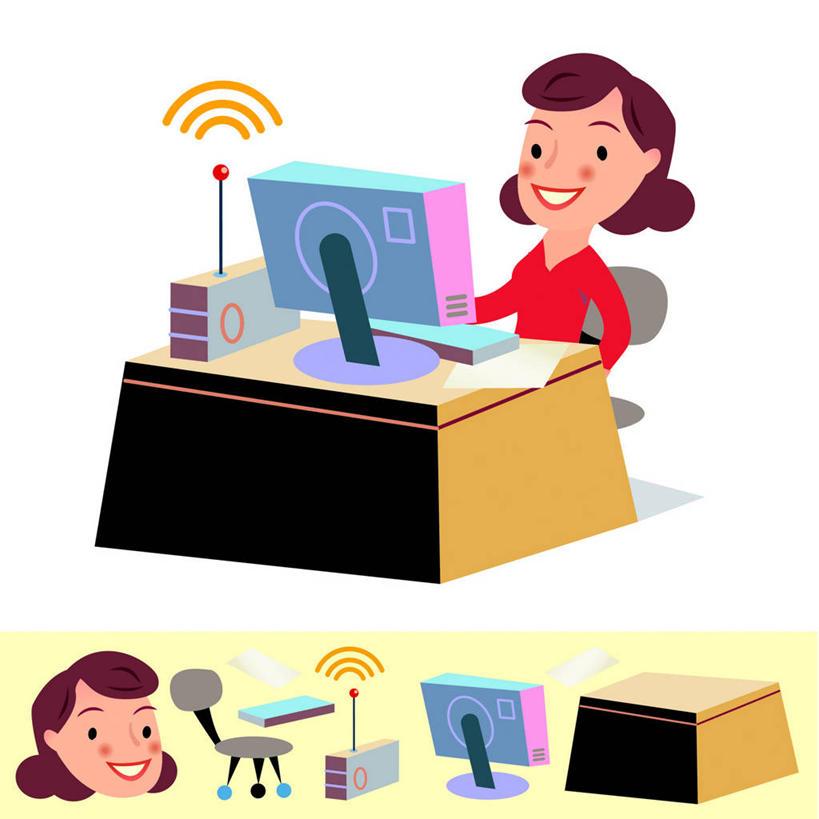 西方人,无人,两个人,同事,商务人士,商务女性,办公室,坐,笑,微笑,露齿