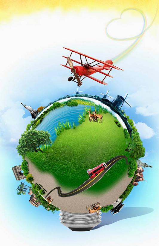 绿色风车房子环保背景
