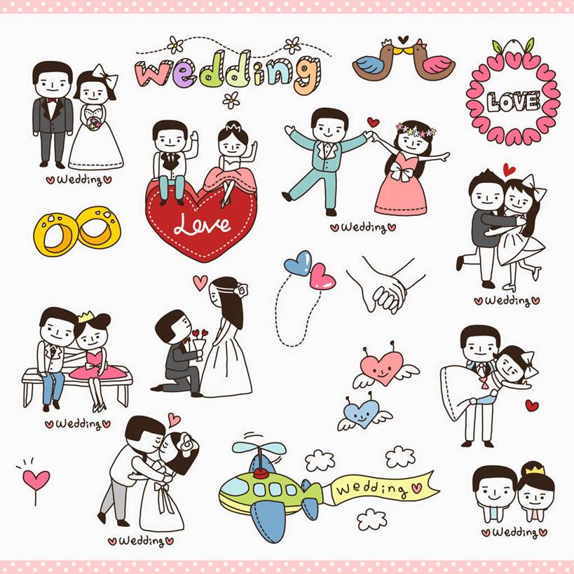 婚纱西服卡通图