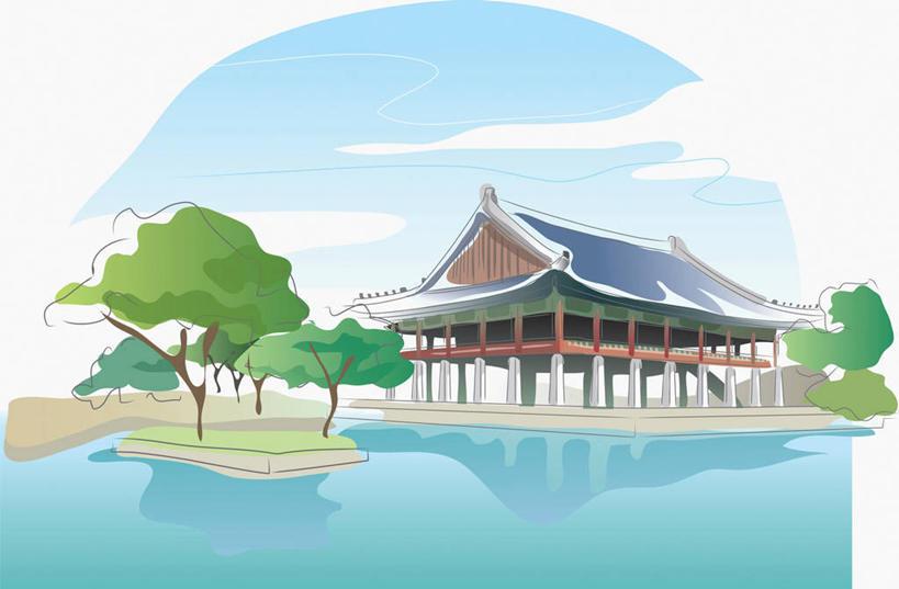 河流,名胜古迹,水,植物,标志建筑,地标,建筑,景福宫,首尔,汉城,韩国