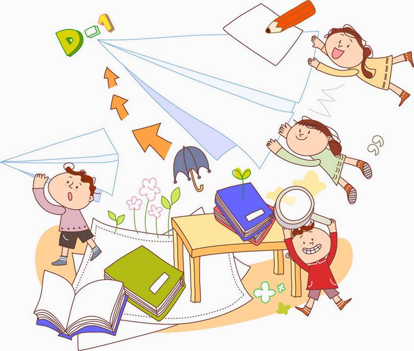 东方人,儿童,无人,四个人,伙伴,朋友,站,举,笑,微笑,露齿笑,横图,插画