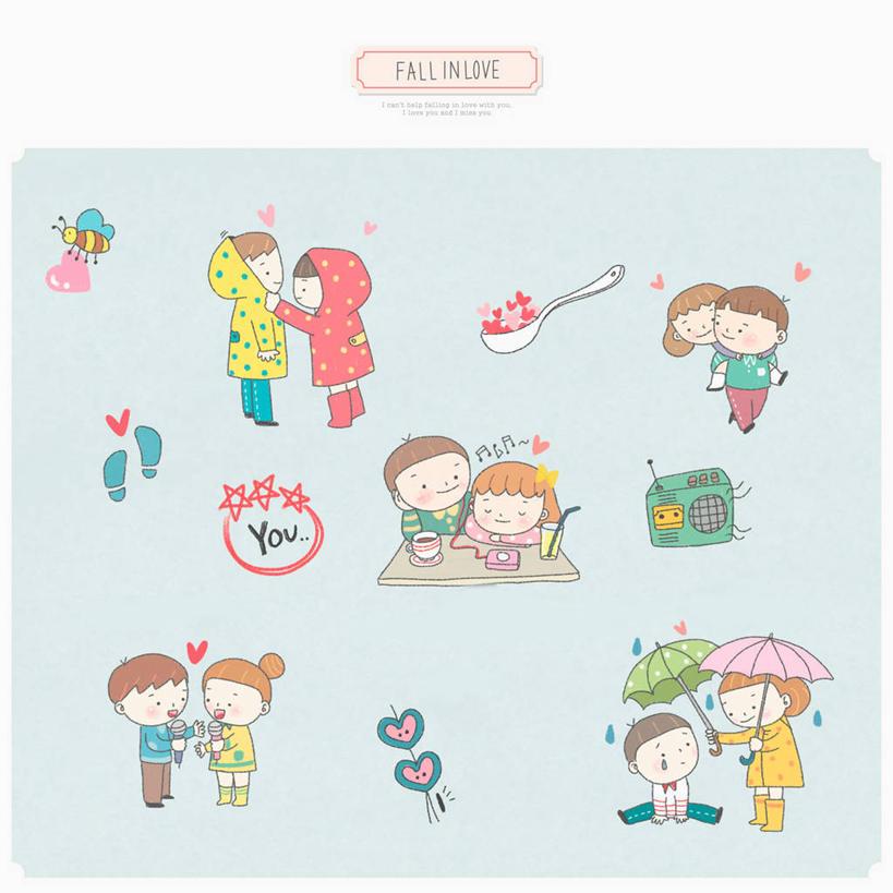 手绘爱情图画