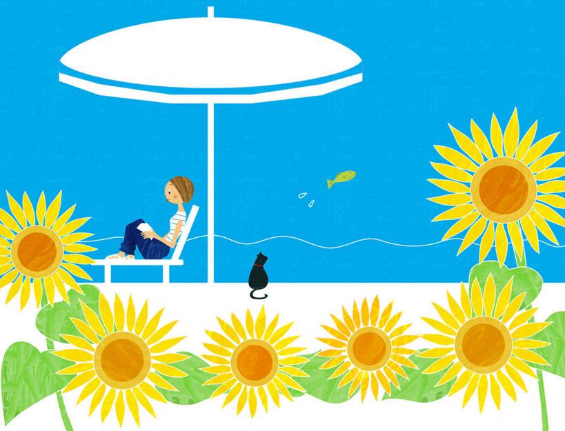 东方人,一个人,无人,坐,横图,插画,室内,白天,侧面,爱情,幸福,数码