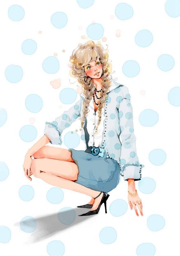 欧式大裙子插画