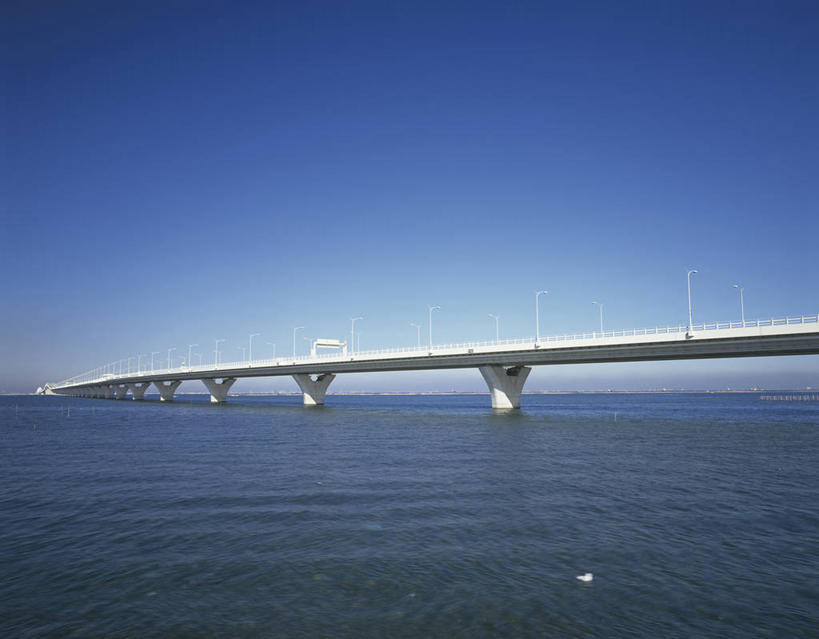 横图,室外,白天,正面,度假,海浪,海洋,美景,城市风光,城市,大桥,桥梁
