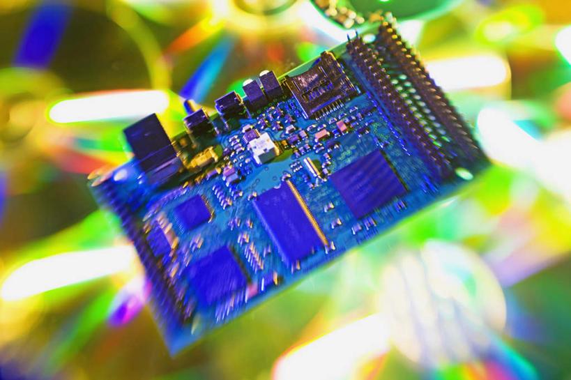 模糊,反射,科学,金属,电路板,影子,庞大,线路板,芯片,复杂,印刷电路板