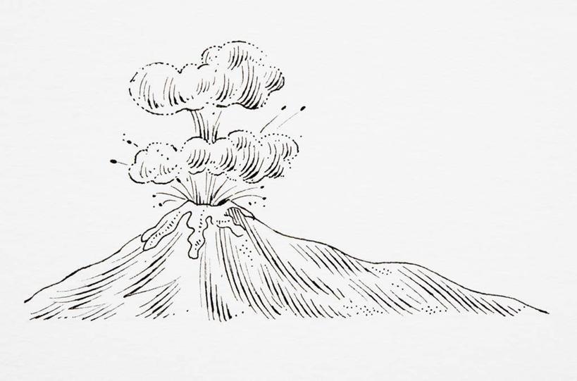 黑白,插画,室内,白天,白色背景,正面,数码,科技,火山,意大利,欧洲
