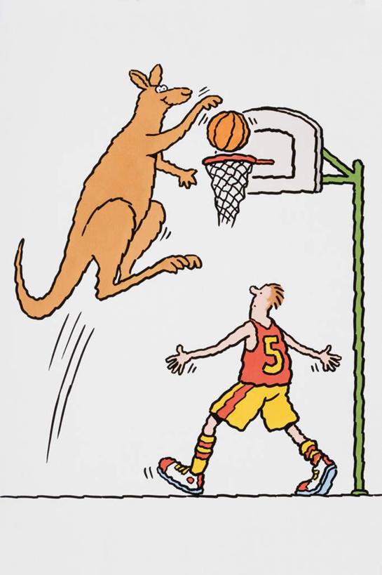 跳,伸展双臂,竖图,插画,室内,白天,白色背景,数码,科技,篮球,袋鼠