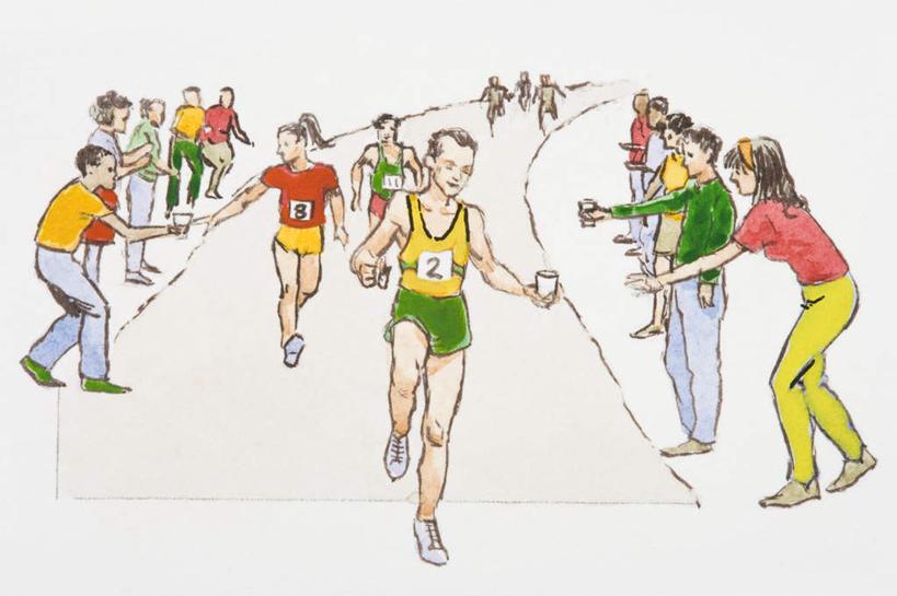跑步卡通正面简笔画