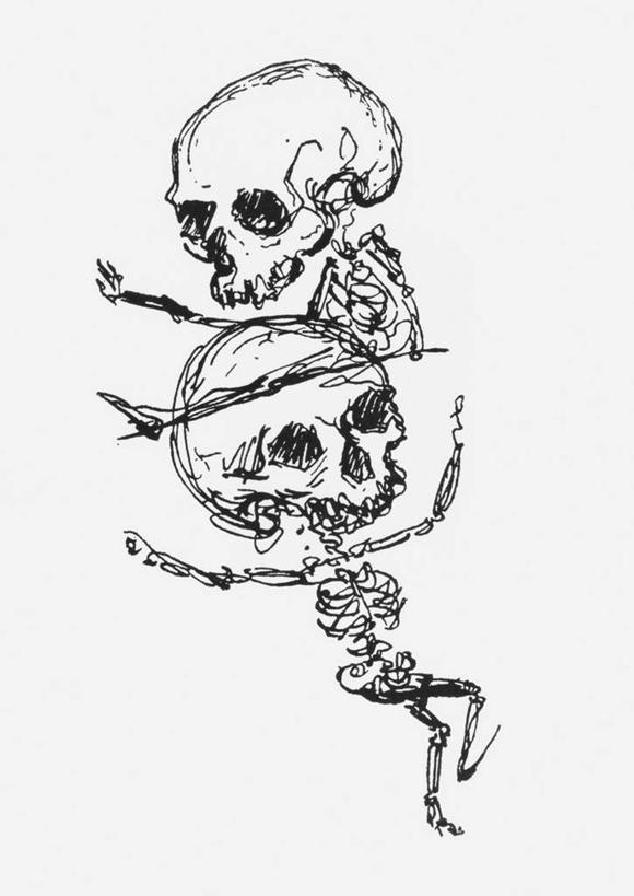骨骼,无人,伸展双臂,竖图,室内,白天,白色背景,正面,跳舞,绘画,艺术