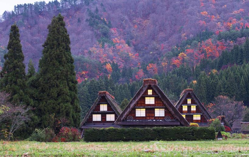 无人,横图,室外,白天,美景,山,建筑,日本,房屋,景观,篱笆,花,树,风景