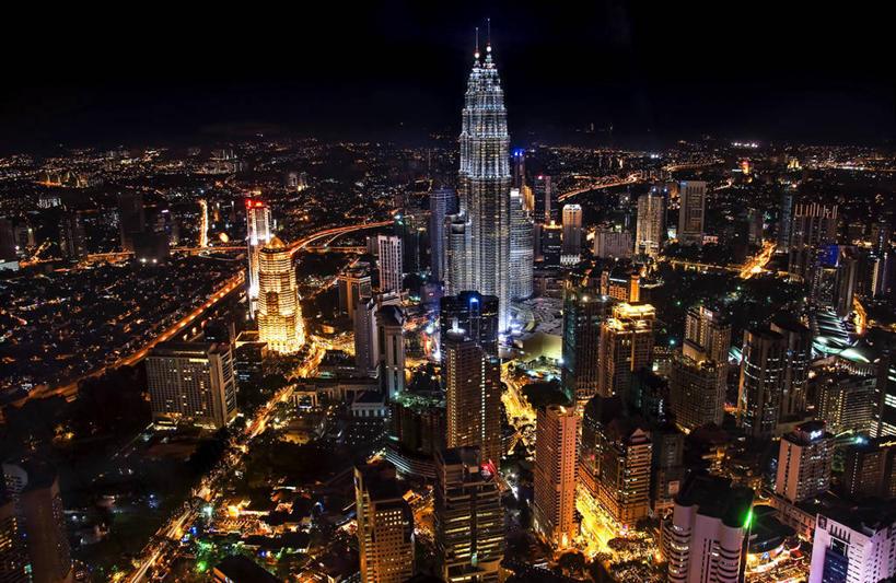 享受,休闲,办公大楼,景色,放松,摄影,东南亚,照亮,鸟瞰,双子塔,吉隆坡