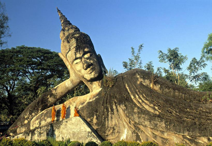 无人,横图,老挝,亚洲,卧佛,首都,摄影,东南亚,佛教,万象,香昆庙,彩图