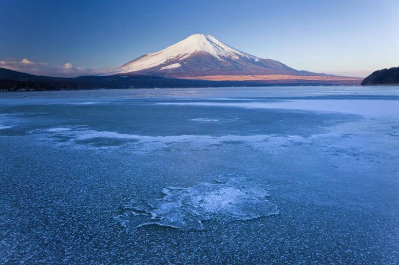 横图,室外,白天,湖,山,雪,雪山,富士山,日本,冰,地形,冬天,风景,寒冷
