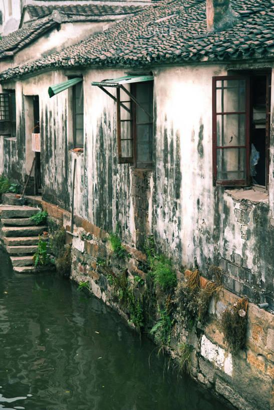 房屋,阶梯,墙,屋子,河水