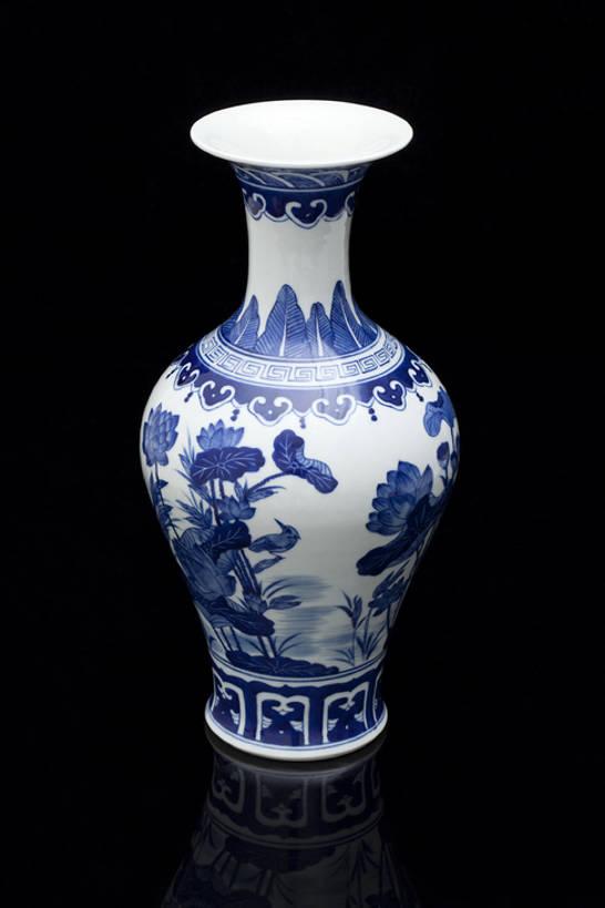 花瓶,中国,亚洲,黑色背景,花纹,形状,艺术,装饰,反射,材料,瓷器,陶瓷