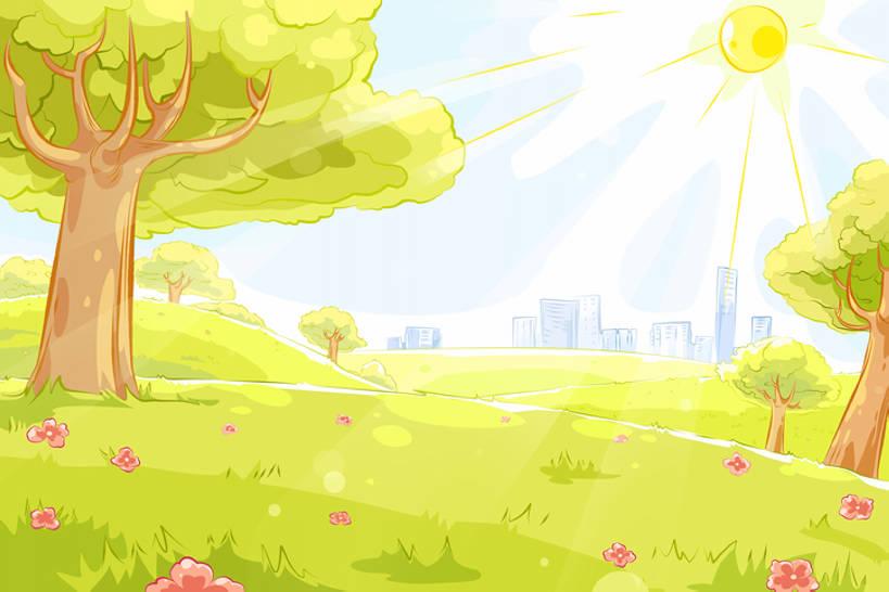 景观,黄绿色,高光,几何,计算机图形,合成,图画,画,草,花,树,绿色,风景